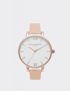 Nude Peach & Rose Gold Big White Dial Watch