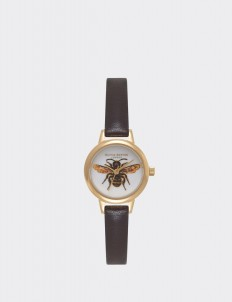Dark Chocolate & Gold Woodland Mini Bee Watch