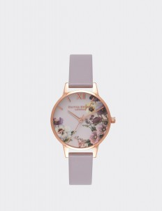 Gray Lilac & Rose Gold Embroidery Pansy Watch