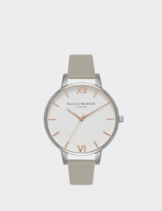 Gray, Silver & Rose Gold White Dial Watch