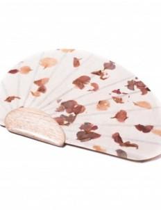 Petal White Shibori Paper Fan