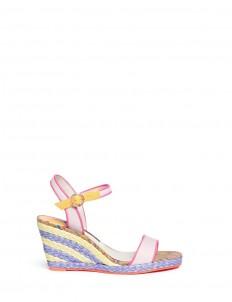 'Lucita' canvas strap raffia wedge sandals