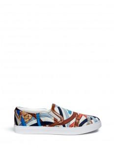 'Pixie' scarf print sateen skate slip-ons