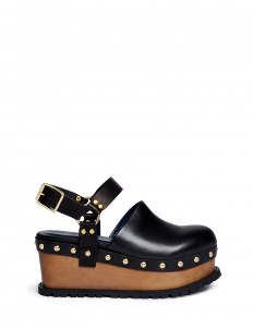 Wooden wedge stud leather clogs