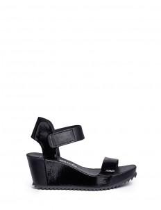 'Francesca' mixed leather platform wedge sandals