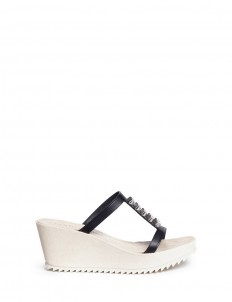 'Filomena' enamel studs suede wedge leather sandals