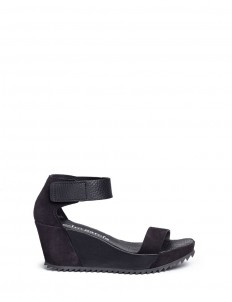 'Fidelia' pebbled leather and suede wedge sandals