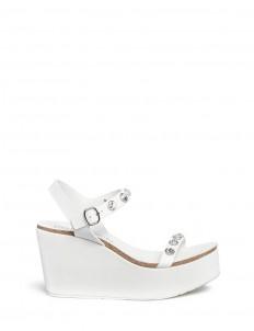 'Diem' crystal suede wedge leather sandals