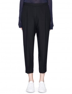 Dropped crotch cropped crepe pants