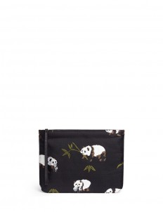 Panda embroidered zip pouch