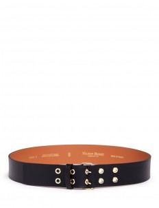 Double eyelet buckle cowhide leather belt
