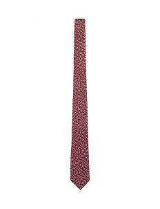 Geometric embroidered silk tie