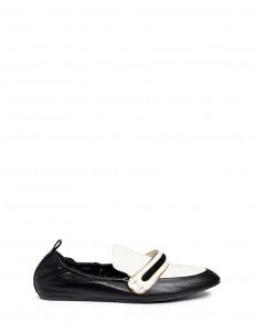 Banded leather moccasin loafers