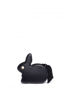 'Bunny' tassel pull leather clutch