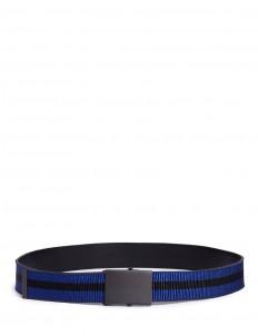 Stripe grosgrain ribbon leather belt