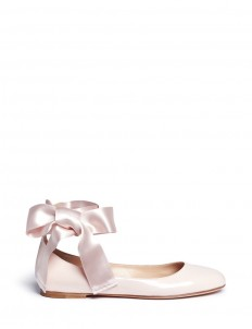 'Odette' ribbon tie patent leather ballerinas