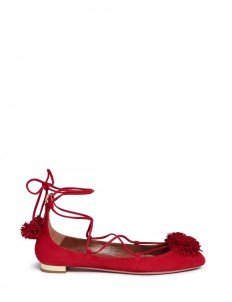 'Sunshine' fringe pompom suede lace-up flats