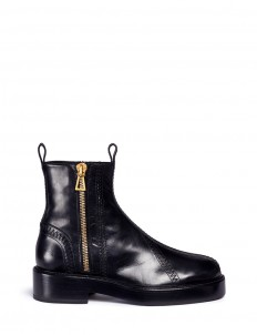 'Venus' zigzag stitch zip leather boots