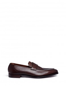 'George' Scotch grain leather penny loafers