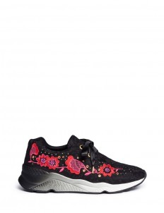 'Mina' floral embroidered stud lace sneakers