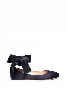 'Odette' ribbon tie satin ballerinas