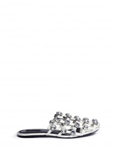 'Amelia' glass crystal caged leather slide sandals