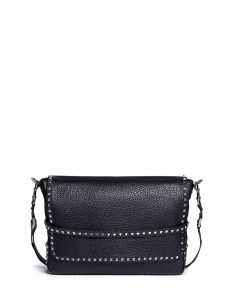 'Rockstud' leather messenger bag