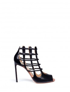 'Nadia' cutout heel leather sandal booties