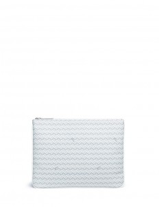 'Pochette Plate GM' basketweave effect coated canvas clutch