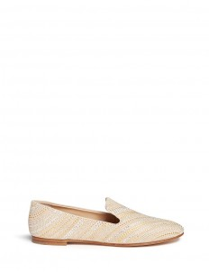'Dalila' crystal and stud chevron suede slip-ons