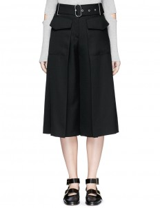 'Inez Struct' belted flare wool culottes