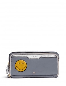 'Wink' small leather smiley reflective nylon zip pouch