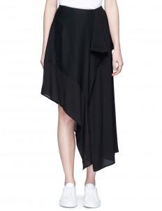 'Pamsan' drape front asymmetric silk skirt
