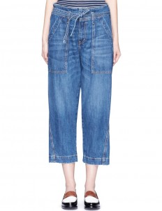 'The Chore' belted cropped wide leg denim pants