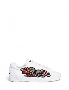 'Nak' floral embroidered leather sneakers