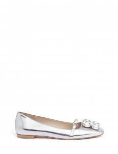 'Josephine' Swarovski crystal metallic leather flats