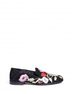 Floral embroidered suede step-in loafers