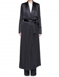 Silk satin belted trench coat