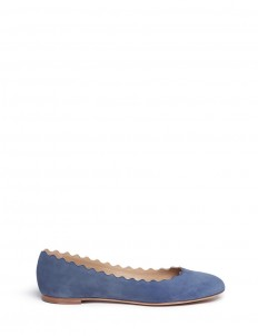 'Lauren' scalloped suede ballerina flats