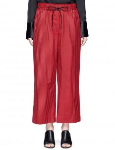 Stripe cotton-silk drawstring wide leg pants