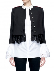 Broderie anglaise underlay military jacket