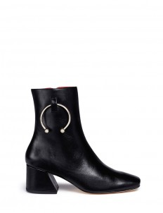 'Nizip' metal hoop leather ankle boots