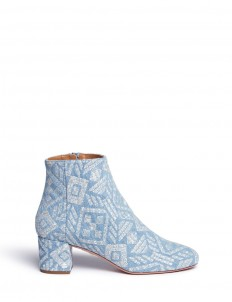 'Brooklyn' geometric embroidered denim boots