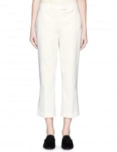 Cotton blend cropped kick flare pants