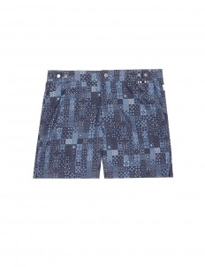 Mid length mosaic print swim shorts