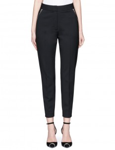 Side zip cropped tailored pants