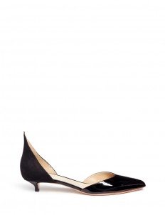 Peaked suede counter patent leather d'Orsay pumps