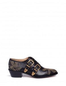 'Susanna' floral stud buckled leather booties