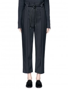 Origami pleat tie waist cropped pants
