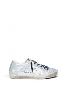 'Superstar' shattered print holographic leather sneakers